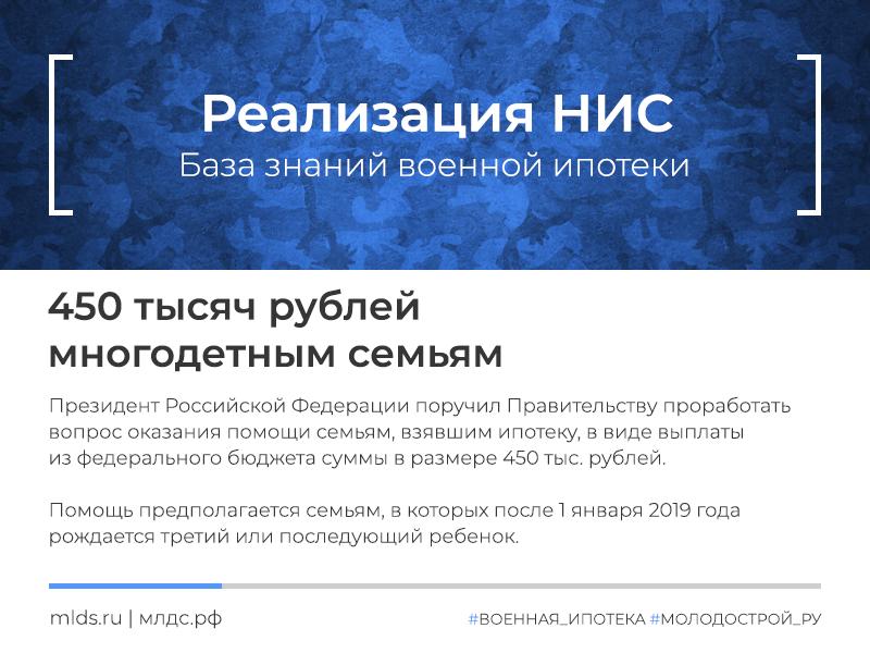 450 тысяч рублей на погашение ипотеки многодетным семьям в 2019 году