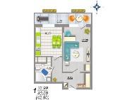 ЖК Ботанический сад. Планировки. 1-комн Тип 1. Секция 1 (этаж 2-8)
